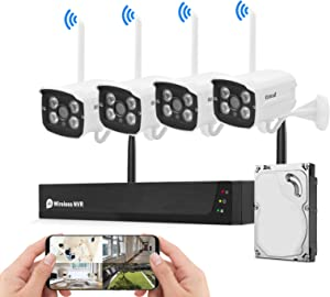 Wireless Security Camera System Plug&Play 1080P 8CH NVR 4Pcs 2MP WiFi Video Surveillance Cameras with 1TB Hard Drive, H.265 Night Vision, Motion Detection, P2P, 24/7 Recording Home Outdoor