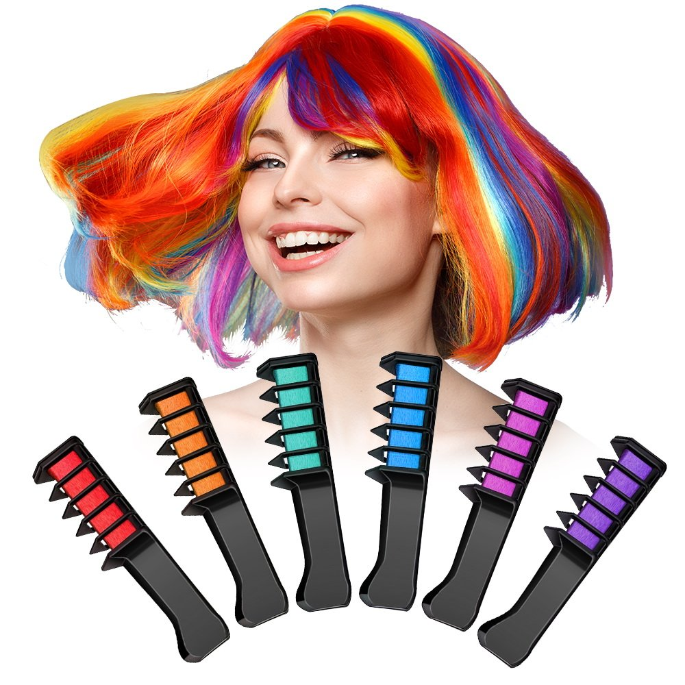 Hair Chalk Pens, 6 Colors Non-Toxic Hair Dye for Both Wet and Dry Hair, Temporary Hair Color for Boys Girls, Perfect Birthday Children's Day Gifts Terresa