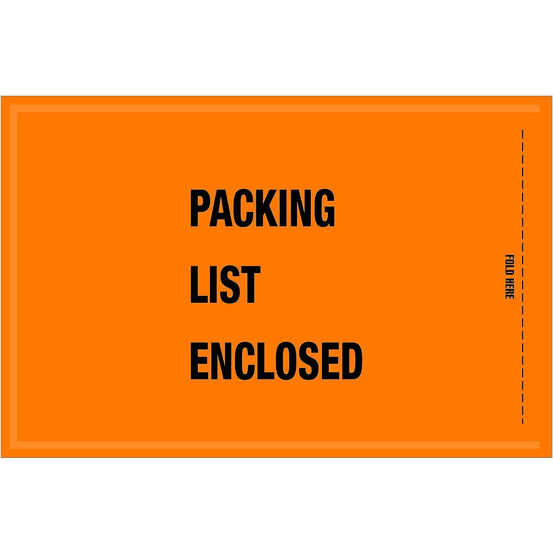 Ship Now Supply SNGSA20EL MIL-SPECPacking List Enclosed Envelopes Width Orange Pack of 1000 5 1//4 x 8 5.25 Length