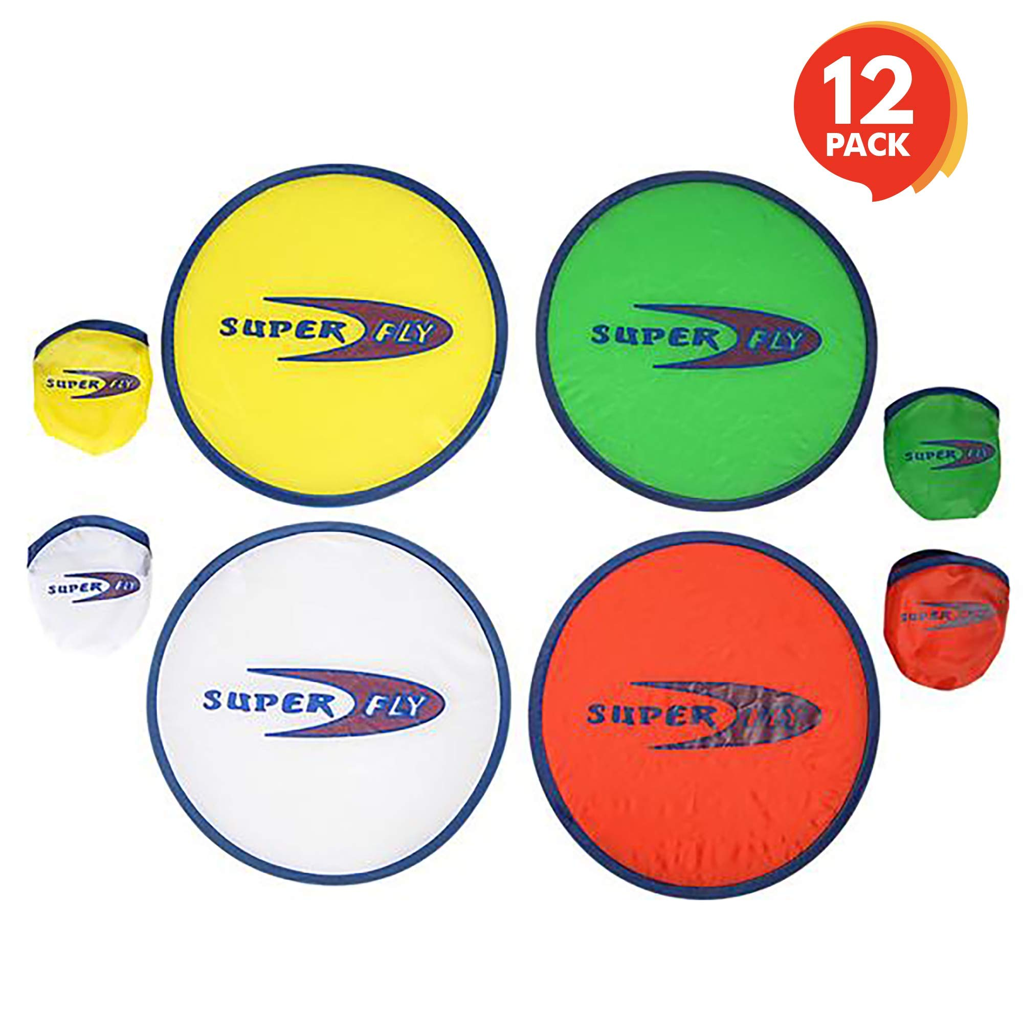 ArtCreativity Folding Pocket Frisbee Set (12 Pack) | Foldable Frisbees for Kids and Adults | Colorful Flying Disc Toys | Fun Birthday Party Favors for Boys and Girls/ Summer Outdoor Activity Game