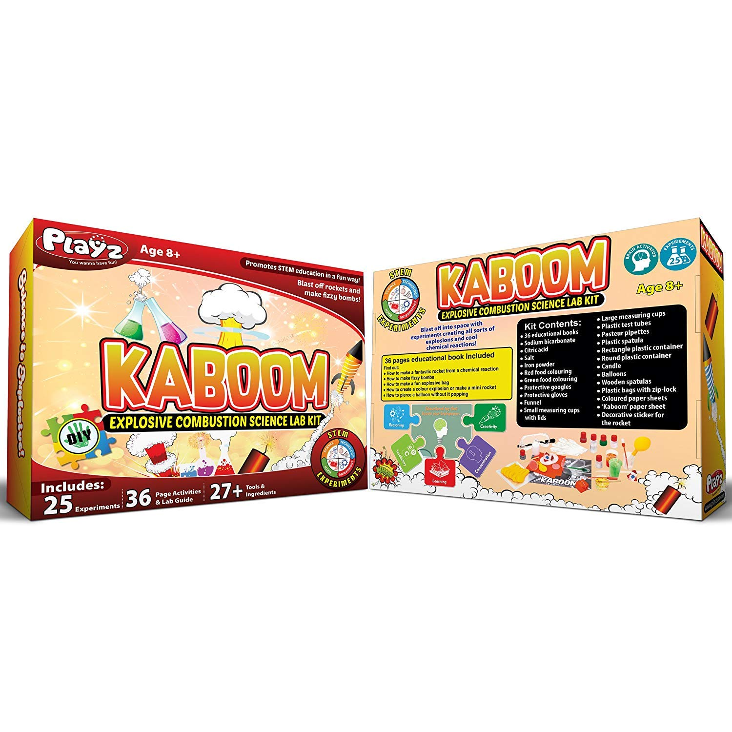 Playz Kaboom! Explosive Combustion Science Lab Kit - 25+ STEM Experiments - DIY Make Your Own Rockets, Helium Balloons, Fizzy Bombs, Color Explosions and More with Fun Chemical Reactions! by Playz (Image #9)
