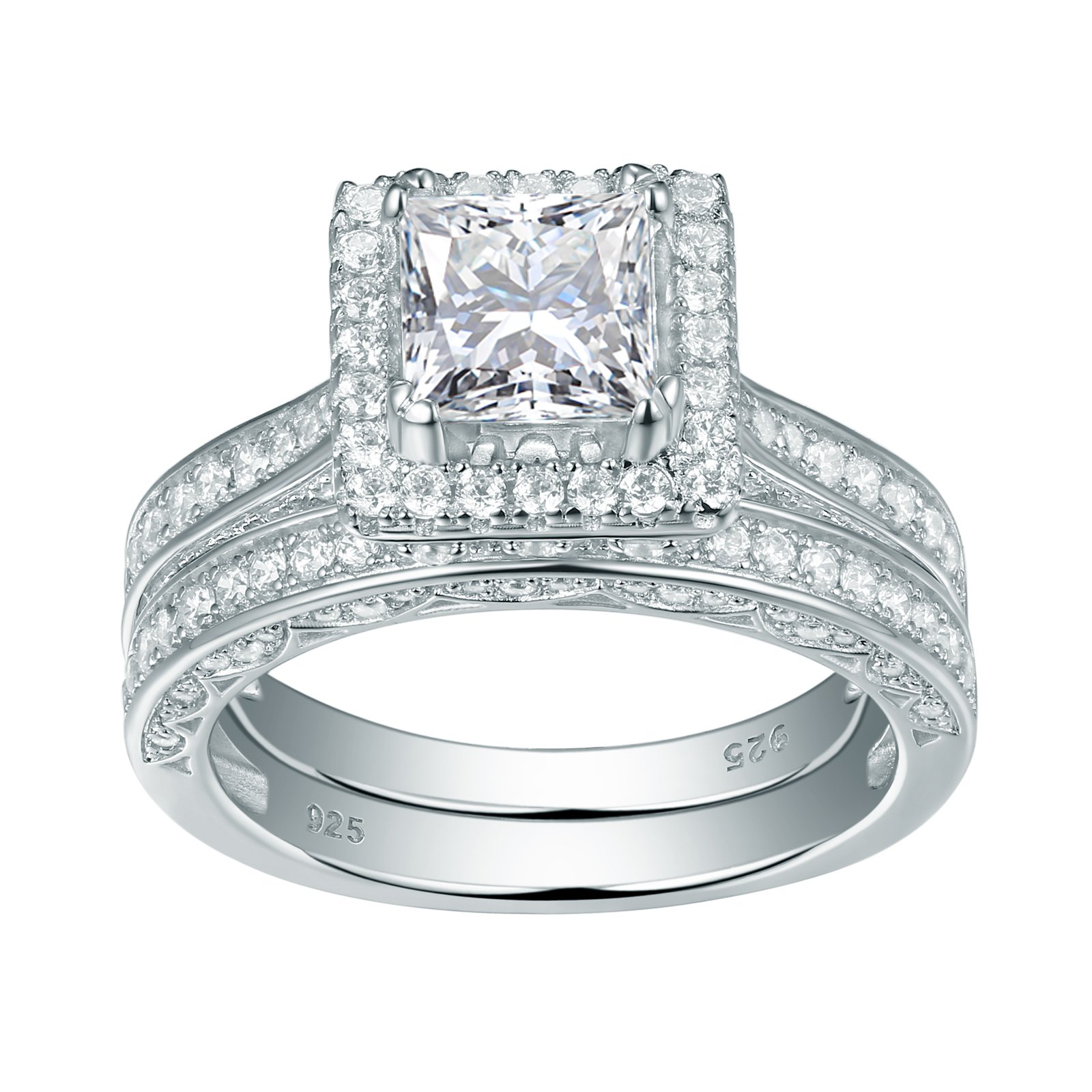 Newshe Wedding Band Engagement Ring Set For Women 925 Sterling Silver 2.8ct Princess White Cz Size 12