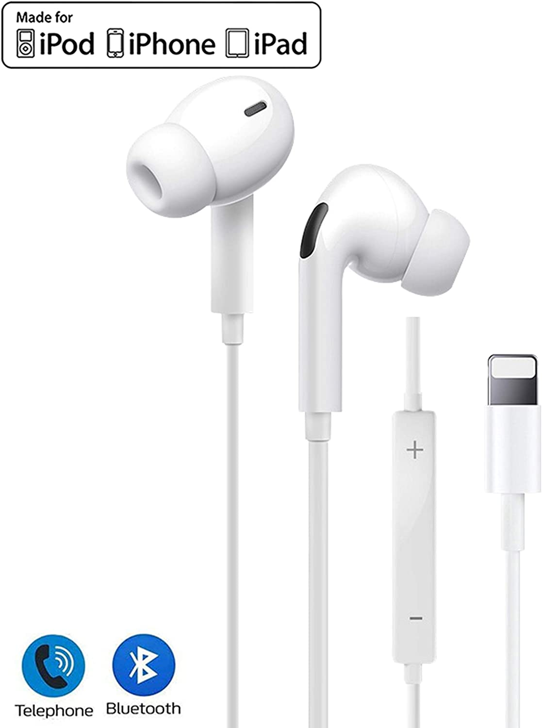 Lighting Earphones for iPhone 11 in Ear Headphones Stereo Headset and Noise Isolating Wired Earbuds Built in Microphone & Volume Control Compatible