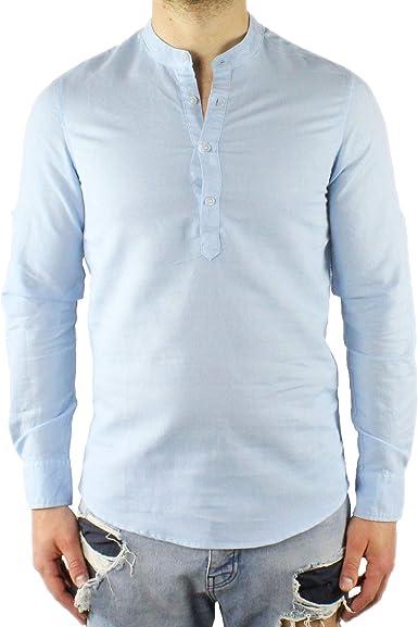 Camisa de Hombre Coreana Lino Slim Fit Serafino Celeste Manga Larga Verano Casual Playa Cuello Coreano ML XL XXL XXXL