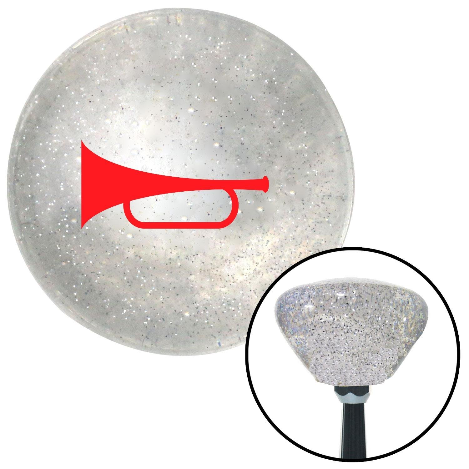 American Shifter 161913 Clear Retro Metal Flake Shift Knob with M16 x 1.5 Insert Red Horn