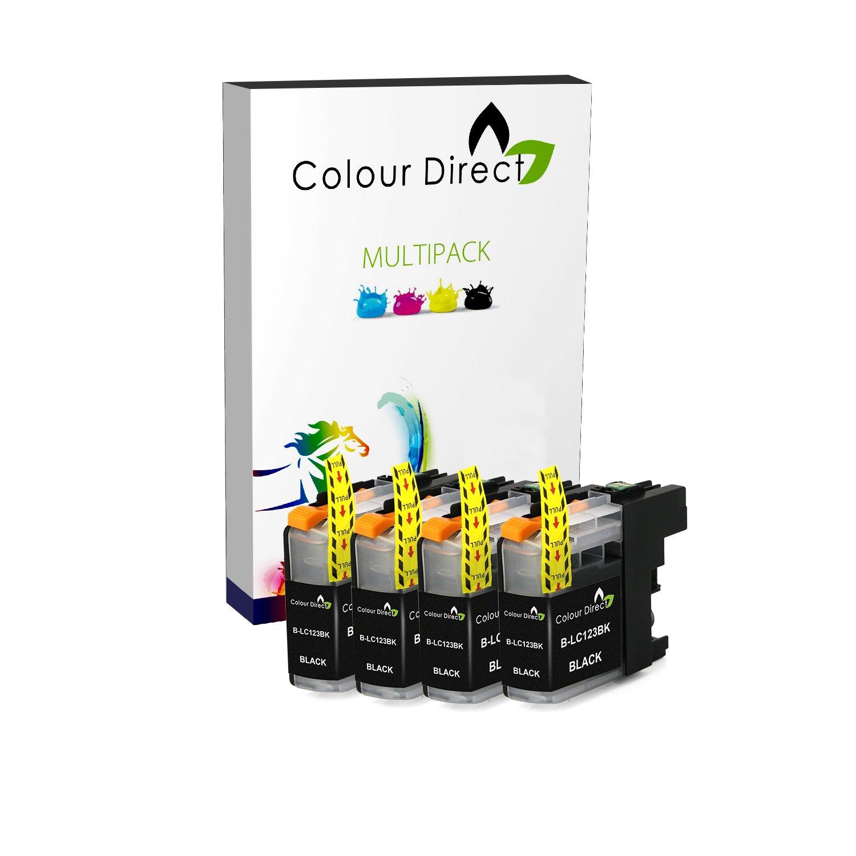 4 Negro Colour Direct LC123 Chipped cartuchos de tinta Para ...