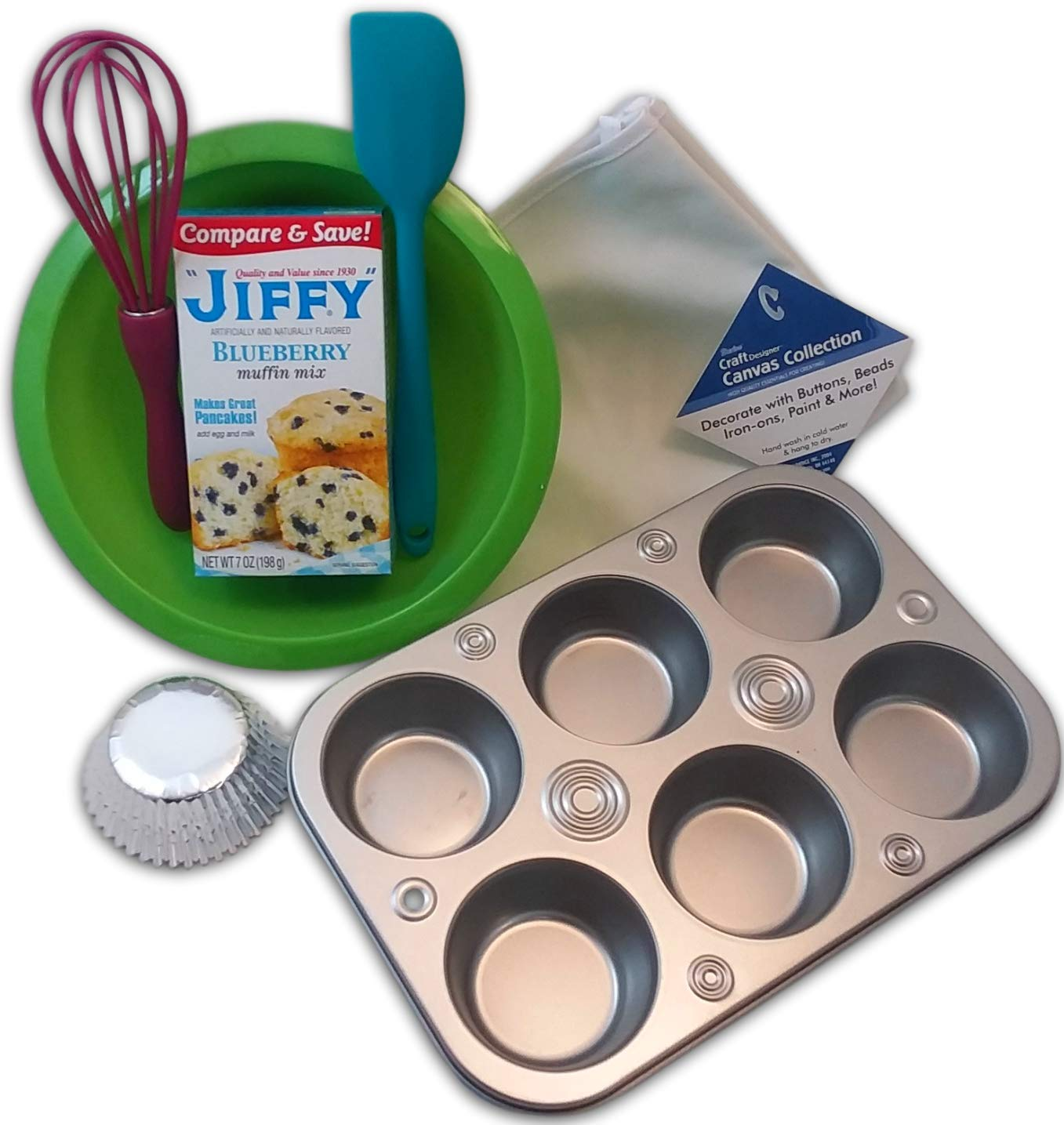 Kids Kitchen Tools Mini Cooking Utensils Baking Set for Kids or Adults Muffin Kit Bundle of 7 - Child Sized Apron, Mixing Bowl, Muffin Tin, Blueberry Mix and More Jr Baking Sets