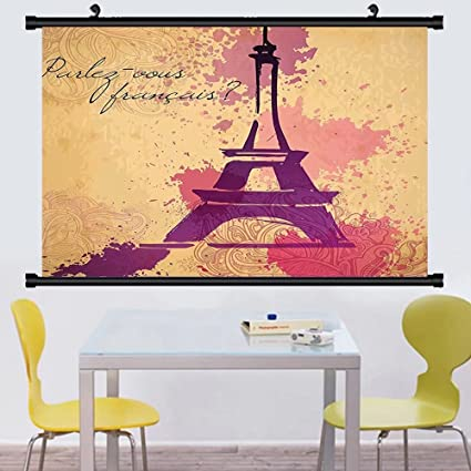 Gzhihine Wall Scroll Eiffel Tower Decor Hanging Paris Symbols Travel Honeymoon Flowers Romance Hot