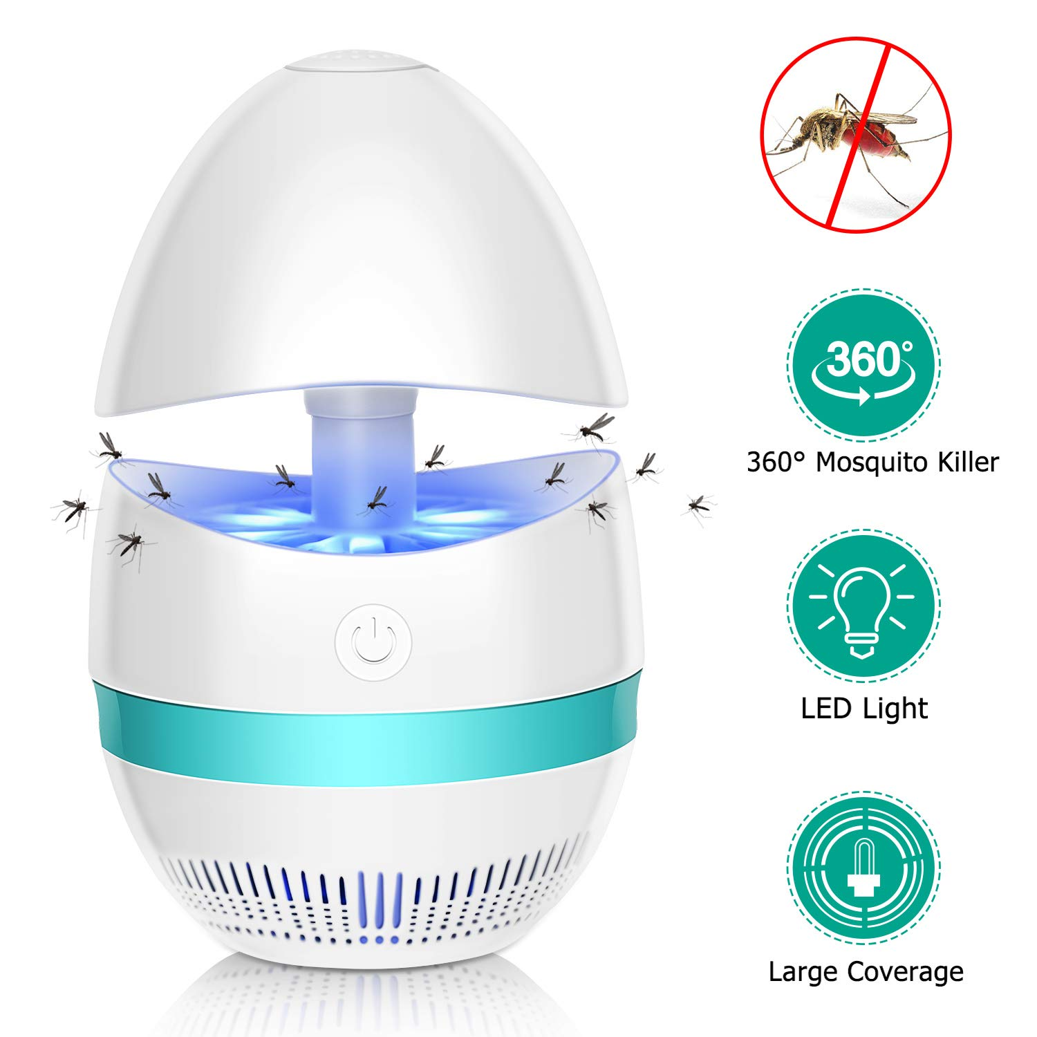 Bug Zapper Indoor Electronic Insect Killer Mosquito Killer Lamp Safe USB Powered Mosquito Zapper with Built in Fan Insect Trap for Indoor Bedroom Kitchen Outdoor Garden Patio Yard Office (EGG Shape)