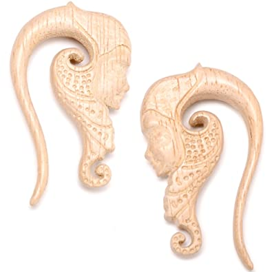 Body Candy Womens Ear Plug Gauges Organic Hand Carved Wood Forest Nymph  Hanger Plugs Stretched Ears