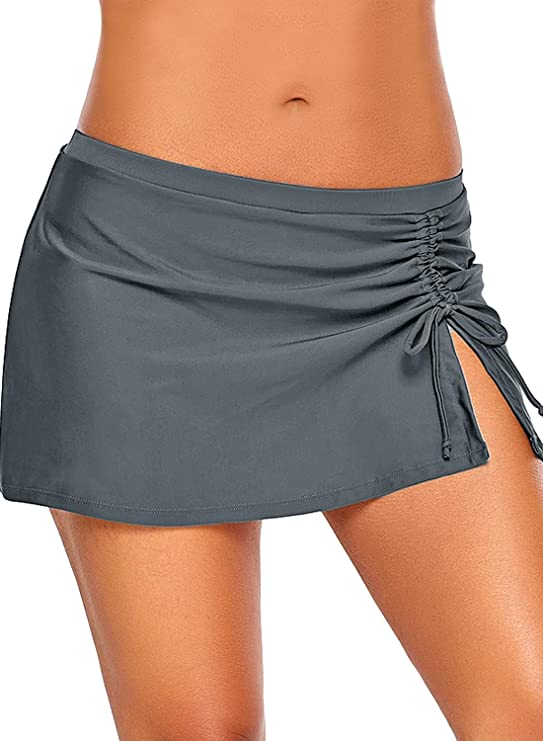 ROSKIKI - Pantalón de Bikini Alto para Mujer con Falda, Abertura ...