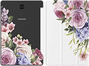 Mertak Case for Samsung Galaxy Tab S6 S5e S4 A 10.5 A 10.1 2019 S3 S2 A 8.0 S Pen A 9.7 E Bouquet Peony Magnetic Closure Cute Clear Slim Roses Print Design Flowers Floral Pink Purple