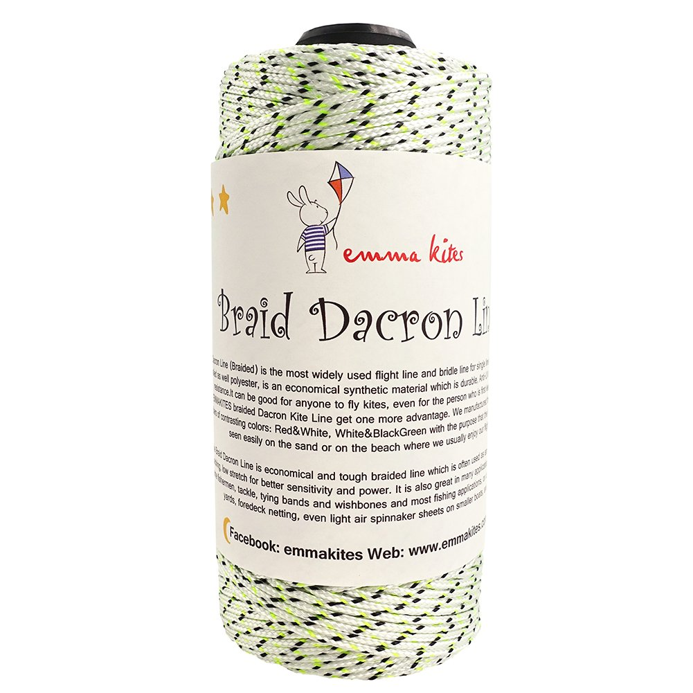 emma kites 300lbs / 500lbs Braided Dacron Polyester String Cord Spool Kite Line for Large Kite Flying Outdoor Tactical Craft UV Resistant Low Stretch Heavy Duty (300lb 1000ft/300Meter)