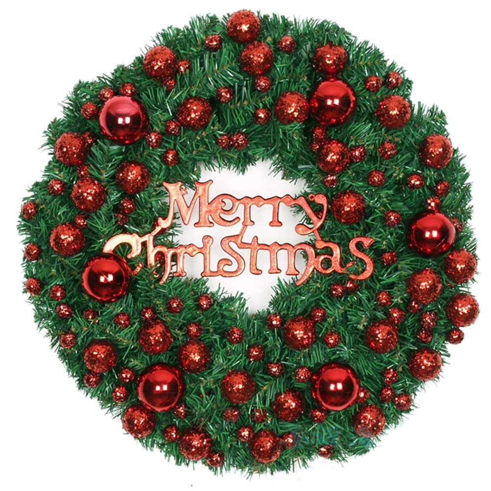 Red Small Balls Christmas Wreath Garland Ornaments Arcades Hotel Christmas Decorations