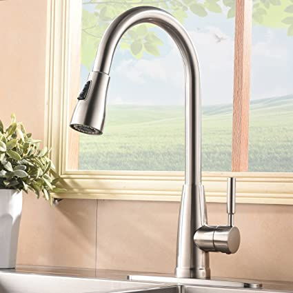 Commercial Stainless Steel Single Handle Pull Down Sprayer Kitchen ...