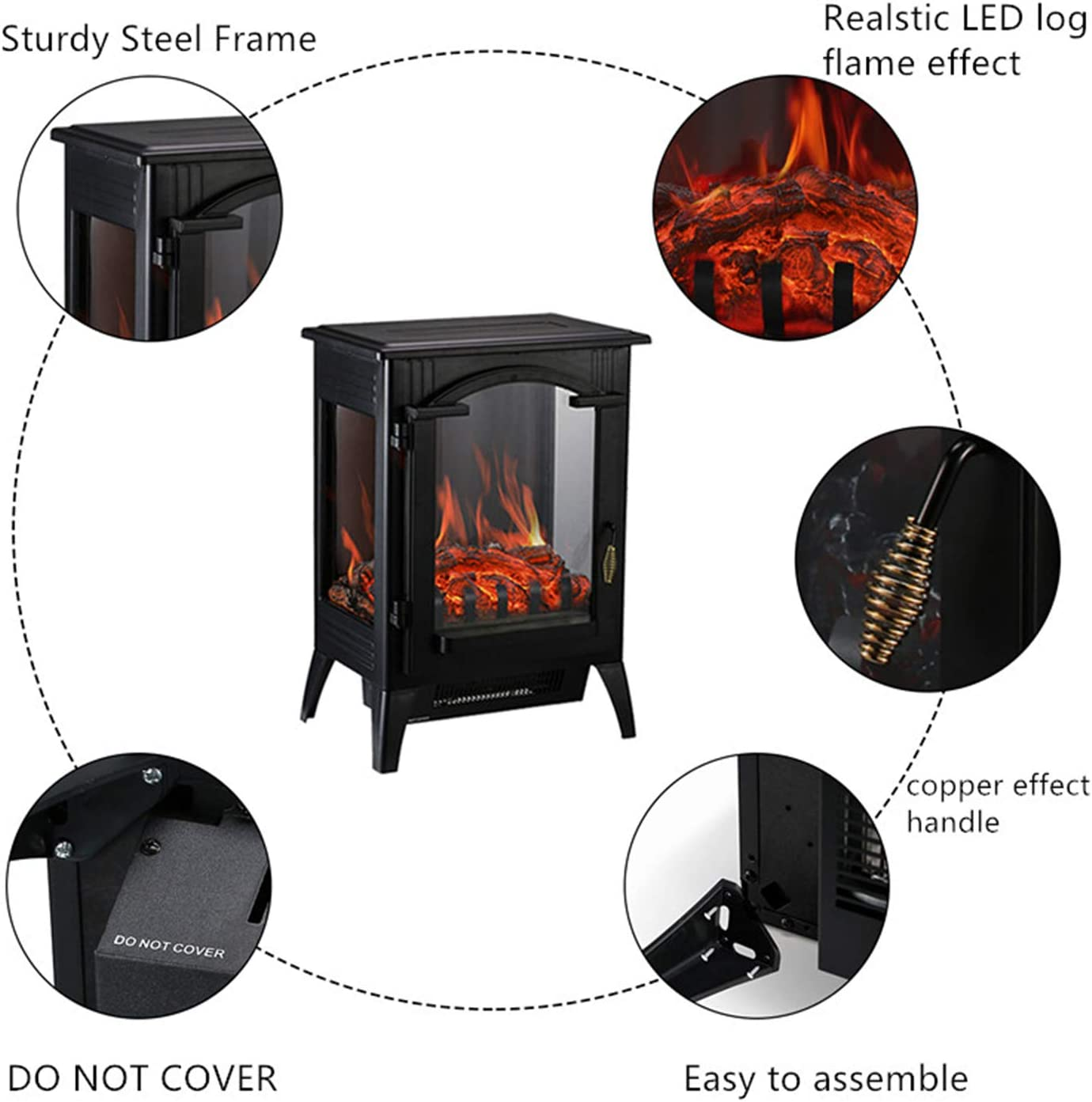 Wonlink Portable Electric Fireplace Heater,2 Element Quartz Infrared Space Heater with 3D Flame Effect