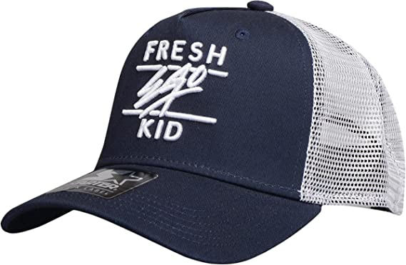 74bce5a8f09 Fresh Ego Kid Mesh Trucker Snapback Baseball Cap Navy White  Amazon ...