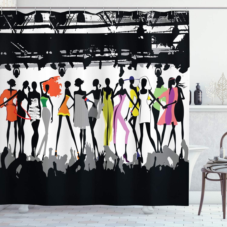 ABAKUHAUS Femenino Cortina de Baño, Desfile de Modas Moderno ...