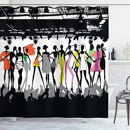ABAKUHAUS Femenino Cortina de Baño, Desfile de Modas Moderno Colorido Pasarela Escenario Luces Concierto Chic Modelos, Material Resistente al Agua Durable Estampa Digital, 175 x 200 cm, Negro: Amazon.es: Hogar