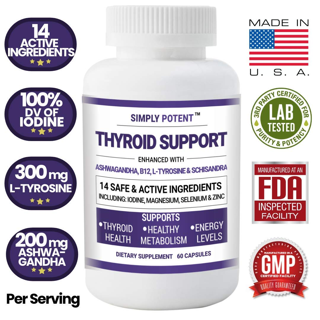 Thyroid Support & Adrenal Support Supplement 2 in 1 Formula, 14 Herb & Vitamins w/Iodine, B12, L-Tyrosine, Ashwagandha, Schisandra, Zinc for Energy, Metabolism, Weight Loss, Stress & Fatigue Relief by Simply Potent