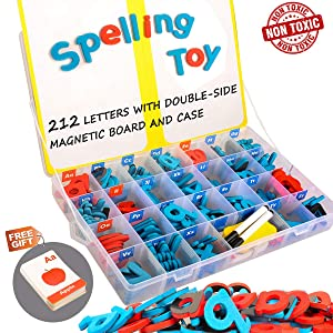 Magnetic Alphabet Letters, 212Pcs A-Z Foam Magnetic Letters with Large Dry Erase Double-Side Magnetic Board, Educational Alphabet Refrigerator Magnets for Preschool Learning, Spelling