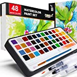 PANDAFLY Watercolor Paint Set, 48 Premium Colors in Gift Box with Bonus Watercolor Paper and Water Brushes, Perfect for Kids,