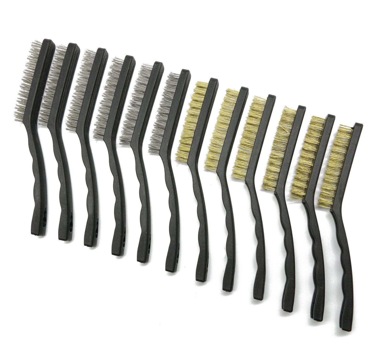LepoHome 12 Pieces 9 inch Large Scratch Wire Brush Set for Cleaning Welding Slag, Rust and Dust