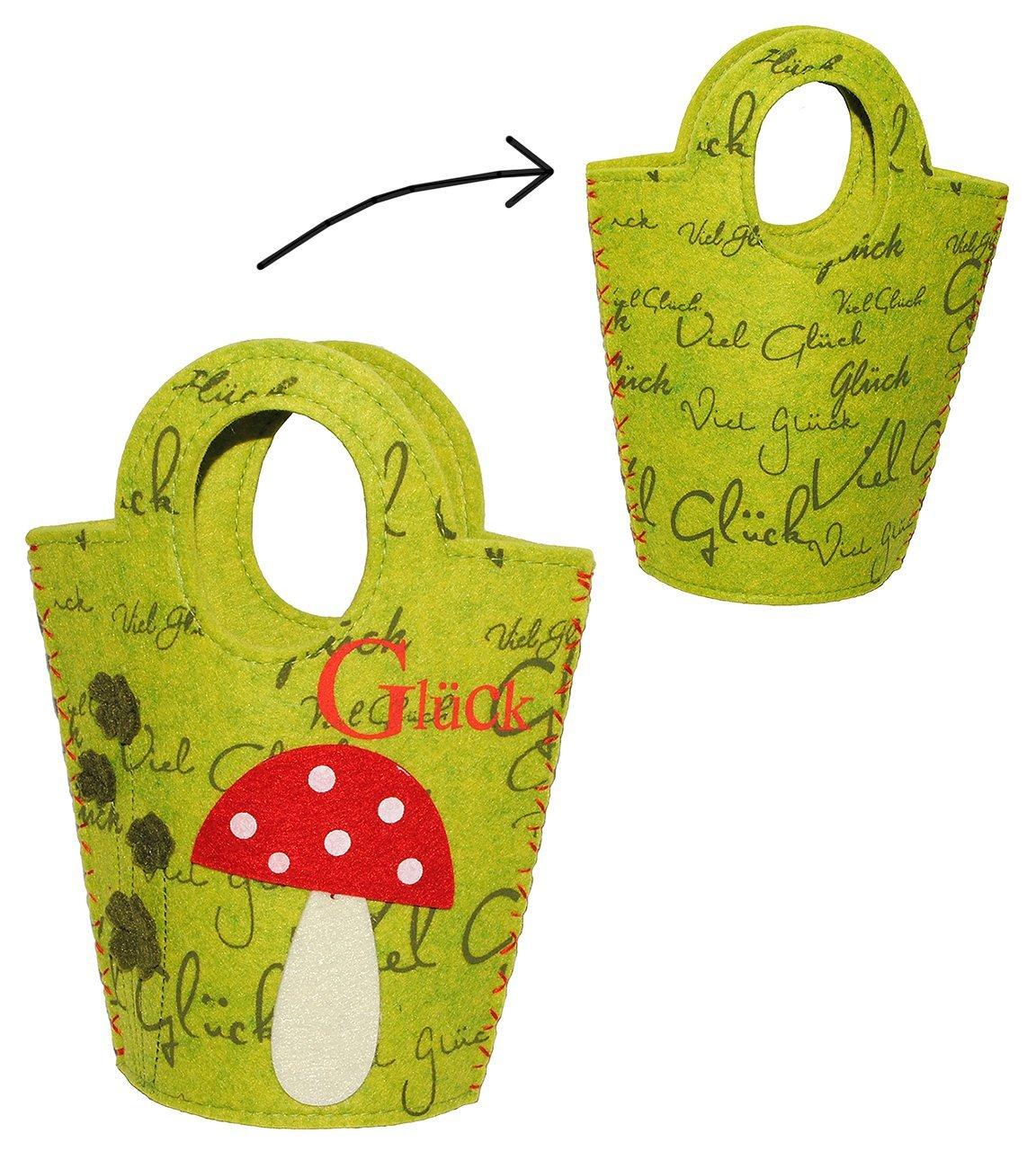 Filztasche / Aufbewahrungsbox / Geschenktasche -  Viel Glück  Glückspilz & Pilz mit Kleeblatt - Taschen Filztaschen für Kinder & Erwachsene - Filz auch als Filztopf Topf - Dekotasche / Streukörbchen Körbchen - Tasche & Beutel Kinder-land