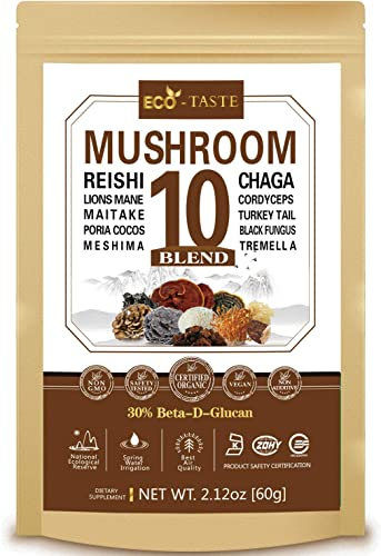 Mushroom Powder, Comprehensive Supports Immune System with 10 Pure Extracts, 30 Beta-Glucans Supplement, 60g