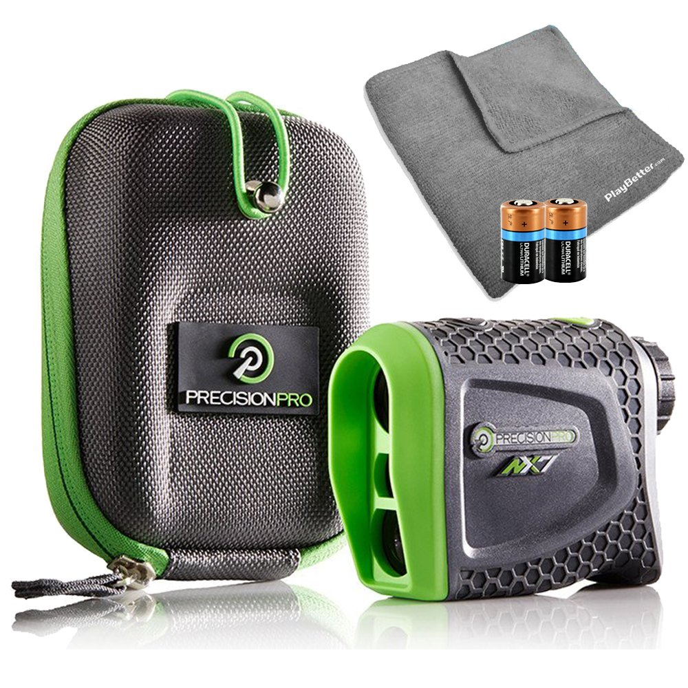 Precision Pro NX7 (Standard Version) Golf Rangefinder Bundle with Carrying Case, Carabiner Clip, PlayBetter Microfiber Towel and Two (2) CR2 Batteries
