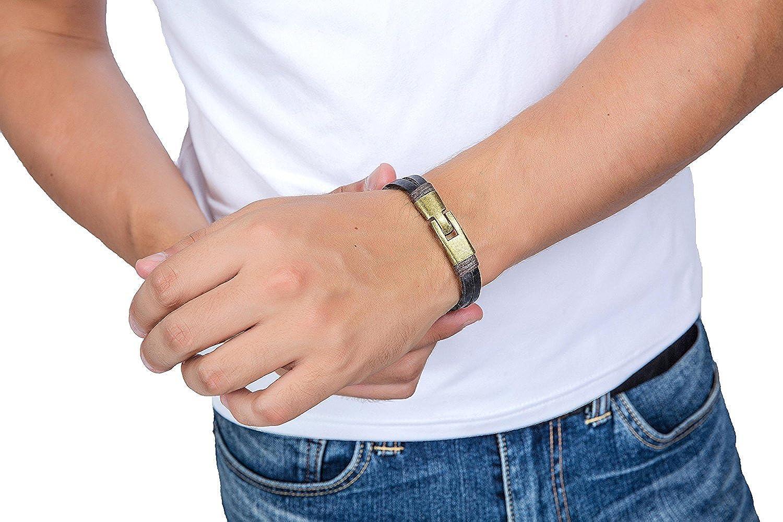 Bracelet Homme Bracelet Homme Marron Cuir v/éritable URBANSTYLES
