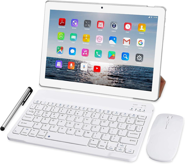 Tablet 10 Pulgadas 4G LTE - TOSCIDO Octa Core Tableta Android 10.0,4GB / RAM,64 GB / ROM,Dual Sim,WiFi ,Teclado Wireless | Ratón | Cubierta para Tablet M863 y Más Incluidos - Plata