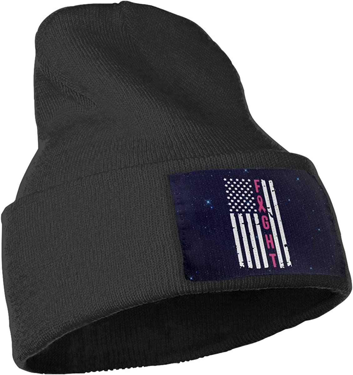 COLLJL-8 Unisex Breast Cancer Awareness Flag Outdoor Warm Knit Beanies Hat Soft Winter Skull Caps