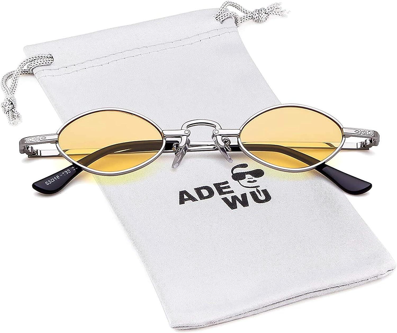 ADEWU Retro Oval Sonnenbrillen Metall Runde Vintage Brillen f/ür Herren Damen
