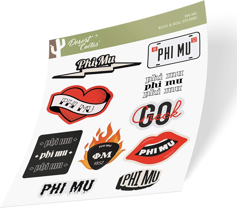Phi Mu Sticker Decal Laptop Water Bottle Car (Rock & Roll Sheet)