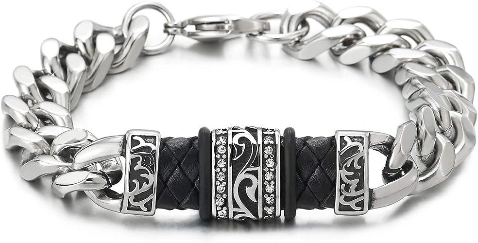 Coolsteelandbeyond Homme Acier Chaine Gourmette Tribal Tatouage Motif Id Identification Bracelet Avec Zircone Cubique Noir Tresse Cuir Amazon Fr Bijoux