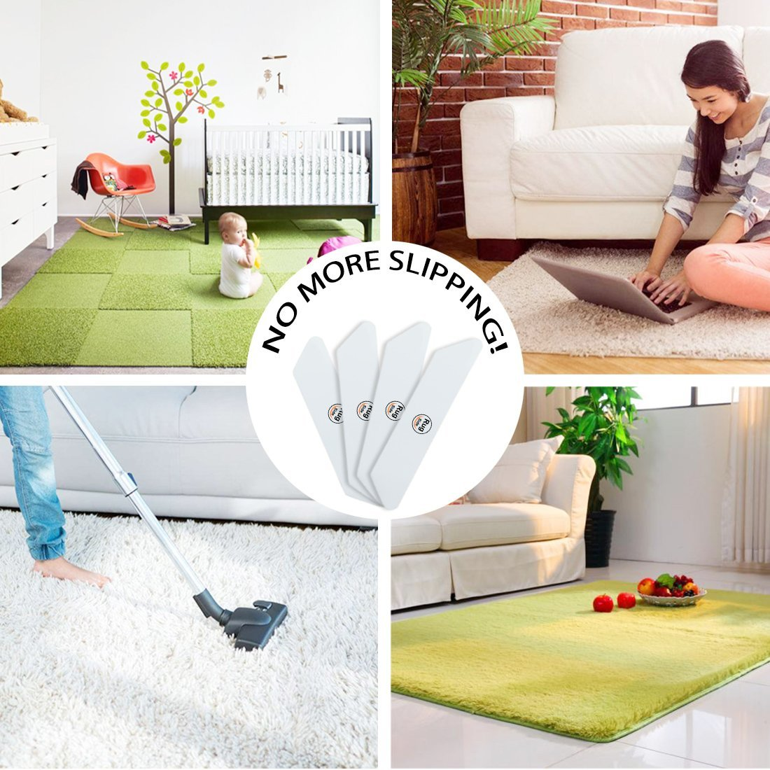 Rug Grippers 5.1X1 Reusable Premium Carpet Tape for Kitchen /& Bathroom 8 Pcs Anti Curling Rug Gripper Keeps Your Rug in Place and Flat , White Small