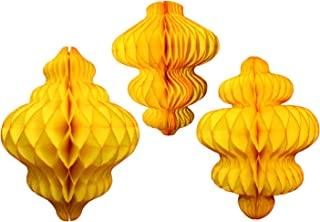 product image for Set of 3 Gold Honeycomb Tissue Paper Hanging Ornament Decorations (11 inch, 10 inch, 8 inch)