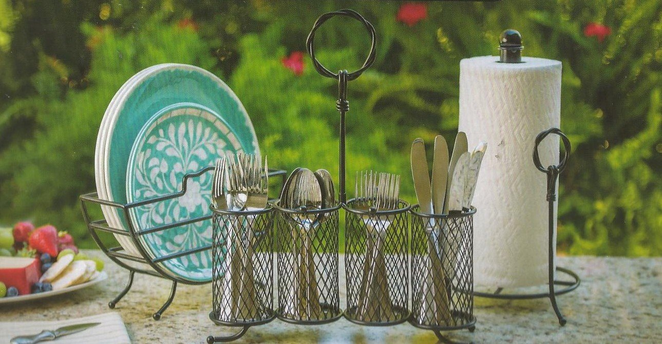 Flatware Plate Towel Organizer Caddy for Picnics Patio or Buffet Sweet Table Wrought Iron