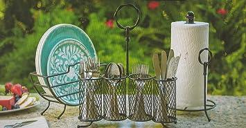 Placa de acero inoxidable toalla organizador Caddy para picnics Patio o bufé dulce mesa de hierro