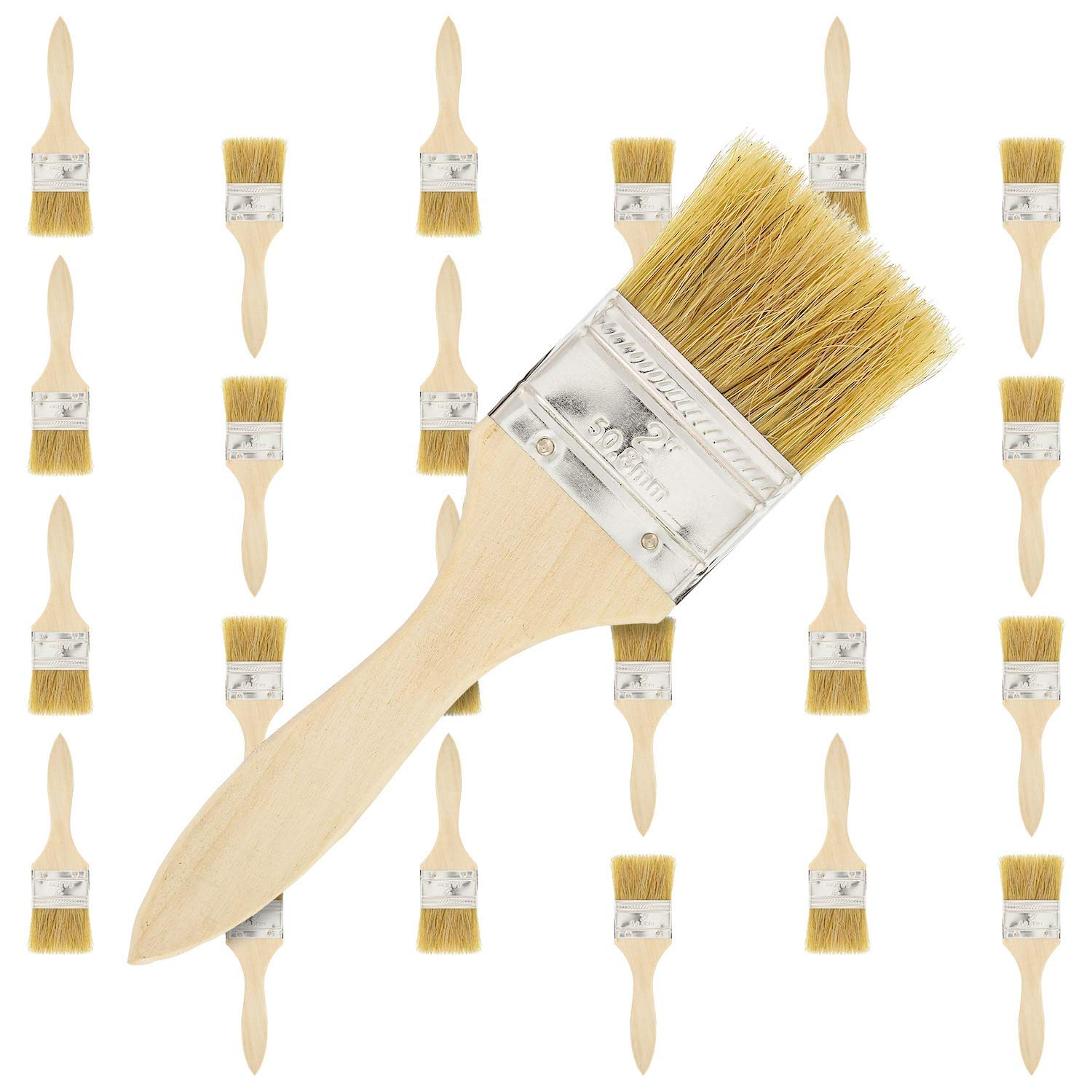 US Art Supply 24 Pack of 2 inch Paint and Chip Paint Brushes for Paint, Stains, Varnishes, Glues, and Gesso by US Art Supply