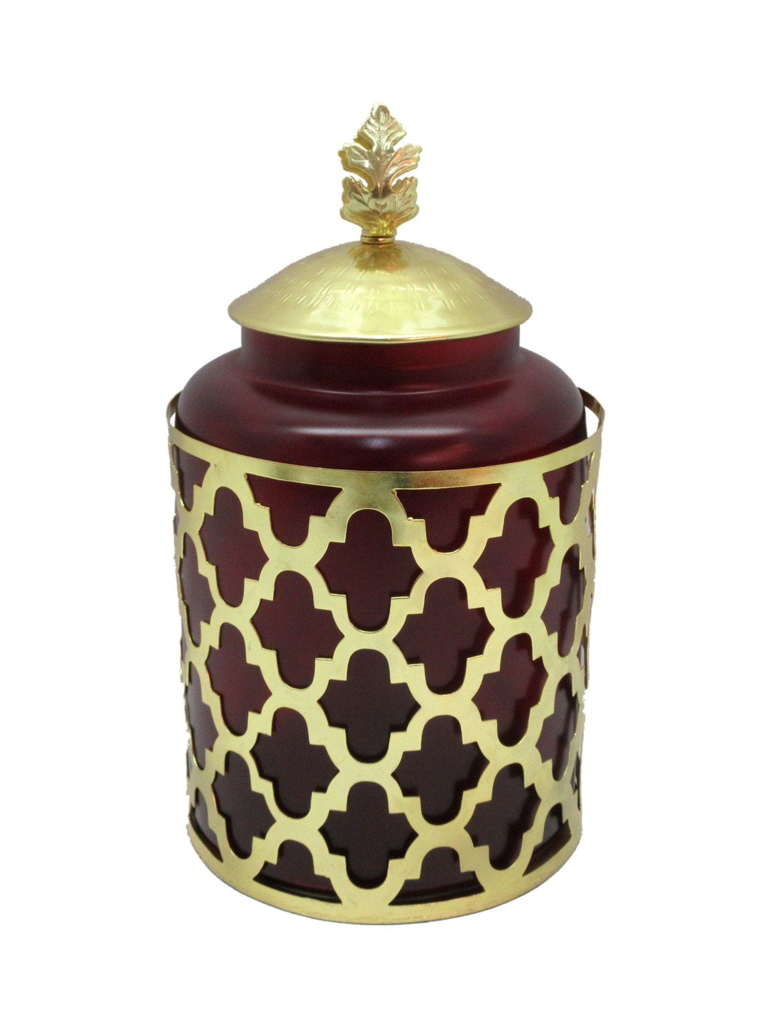 Beautiful Maroon Glass and Metal Cremation Urn, Memorial Adult Human Urn with Velvet Bag