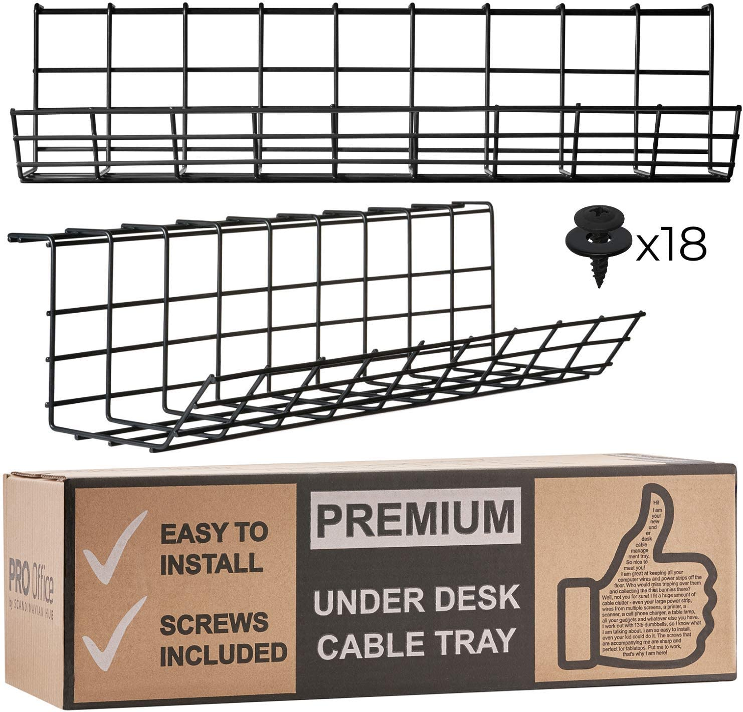 Under Desk Cable Management Tray - Cable Organizer for Wire Management.  Metal Wire Cable Tray for Office and Home. Perfect Standing Desk Cable