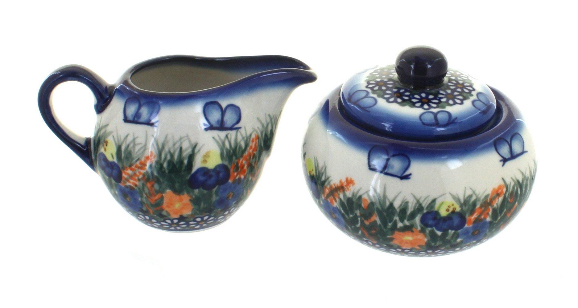 Polish pottery spring butterfly sugar bowl & creamer