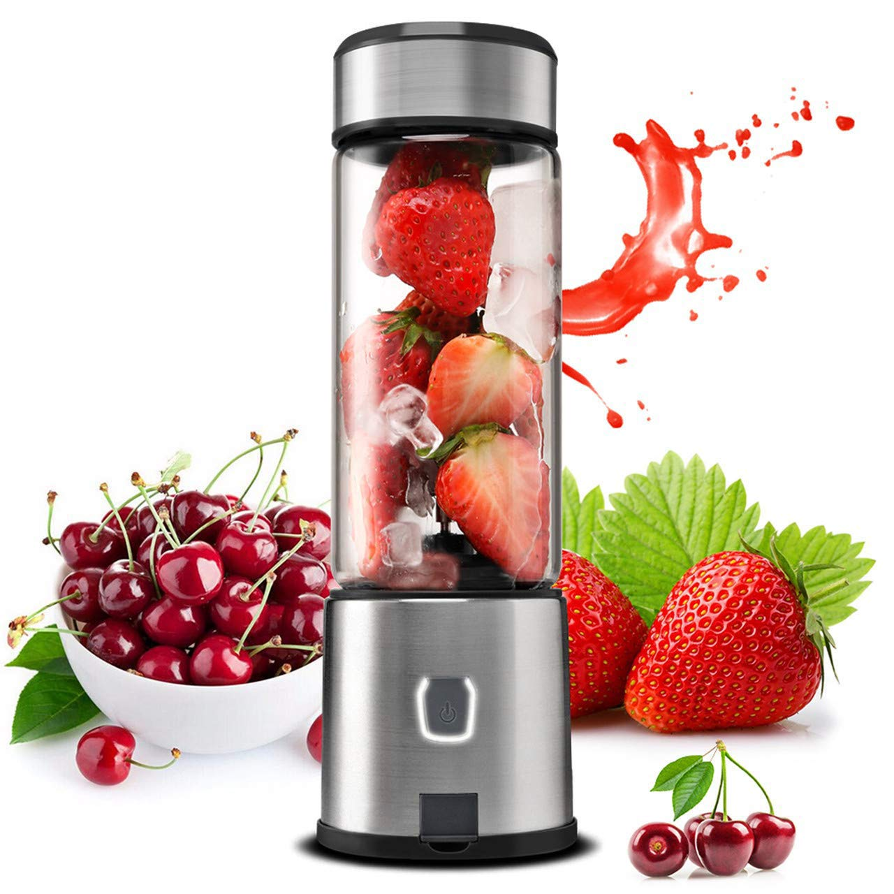 Portable Blender, TTLIFE 5200mAh Glass Smoothie Blender with Single Serve, USB Rechargeable Cordless Personal Blender, Mixer Juicer Cup Portable for Shakes and Smoothies, Baby Food, Protein Shake -Black by TTLIFE