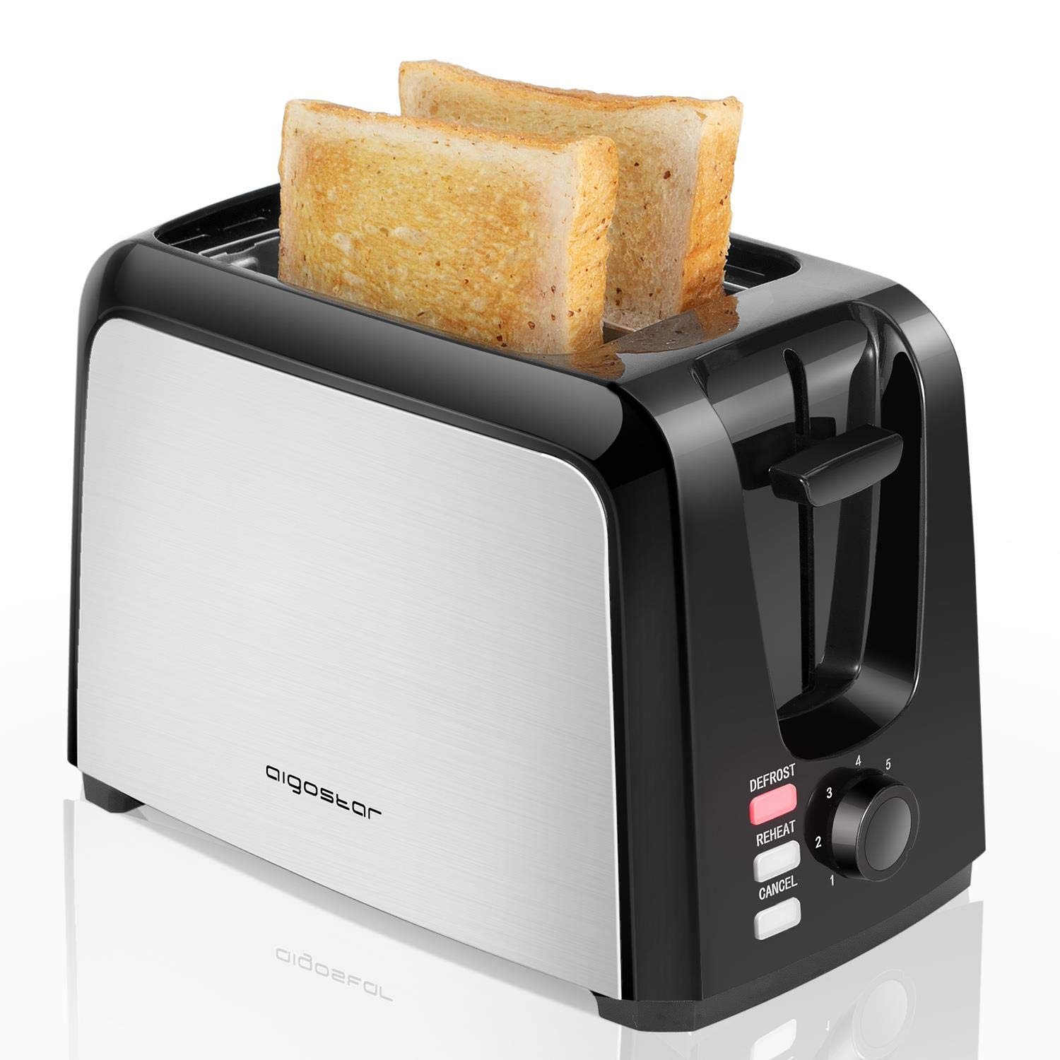 Aigostar Totoro - 2 Slice Toaster, Toasters with 2 Wide Slots, Compact Brushed Stainless Steel Toasters with Pop Up Reheat Defrost Functions, 7-Shade Control & Removable Crumb Tray by Aigostar