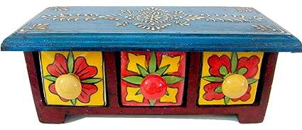 Store Utsav Wooden Chest 3 Drawer Ceramic Horizontal Boho Chic Rugged Home Decor