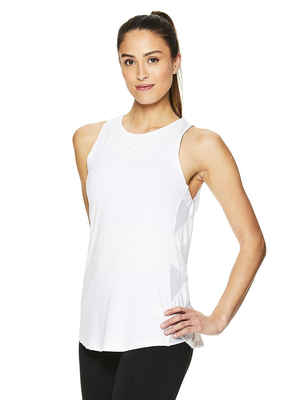Sleeveless Performance Workout Shirt w//Strappy Side Detail Gaiam Womens Flowy Yoga Tank Top