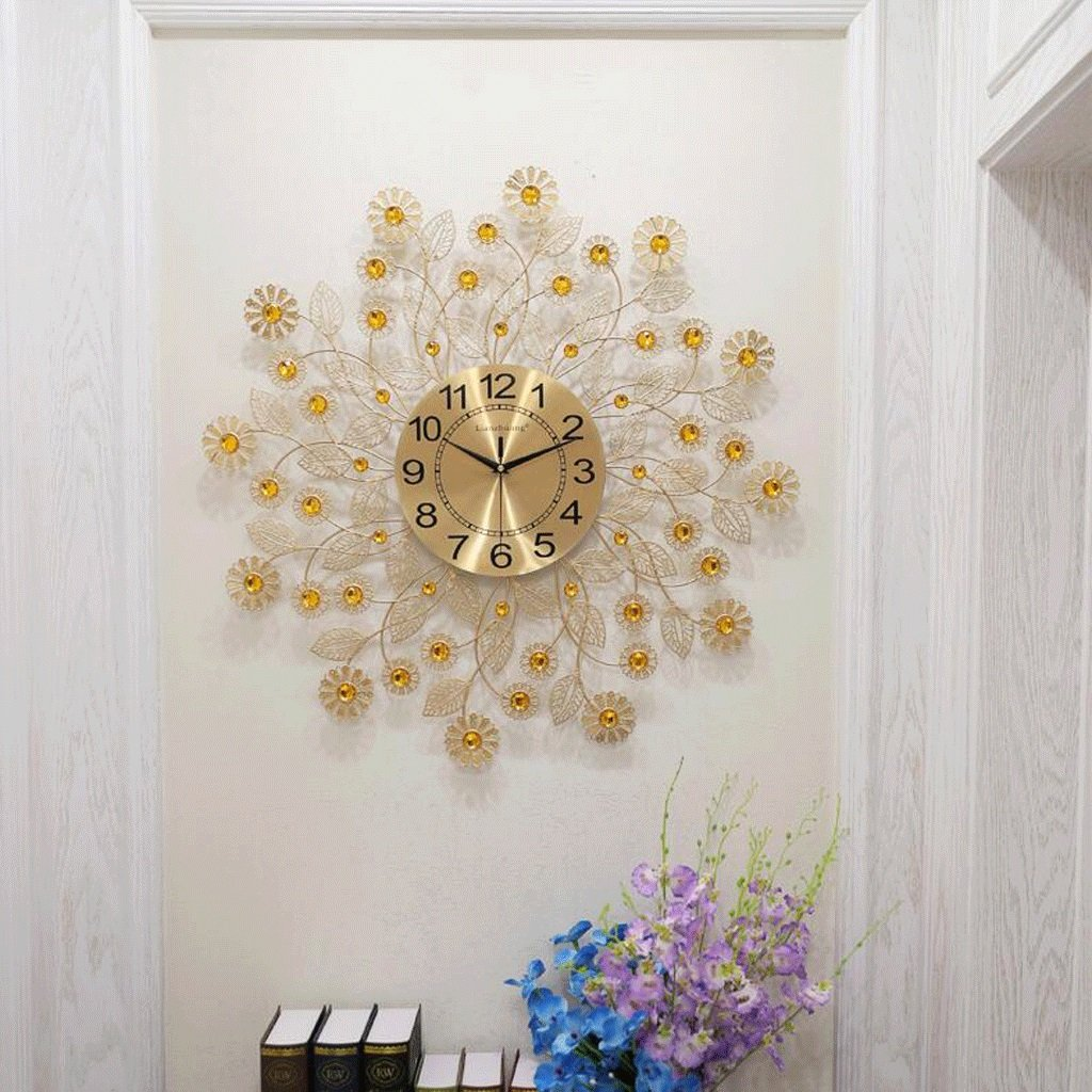 TXXM® モダンなクリエイティブなゴールドウォールクロックのリビングルーム鉄のレストランベッドルームは静かなクォーツ時計で装飾されています (色 : A) B07F45YNX2A
