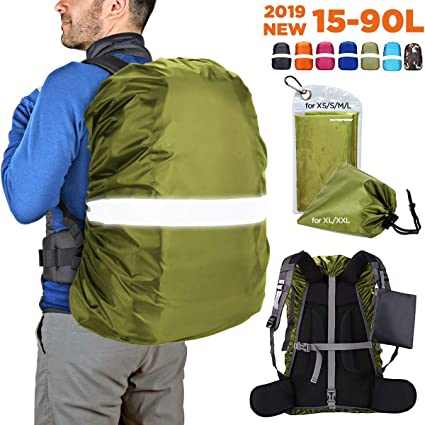 Reflective Waterproof Backpack Dust Rain Cover Rucksack Camping Hiking Case Kits
